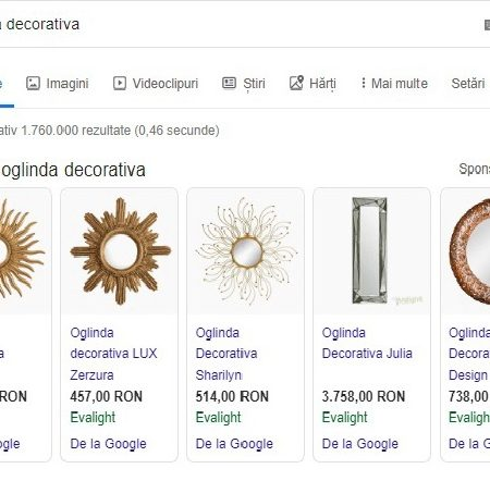 Exemplu Google Shopping